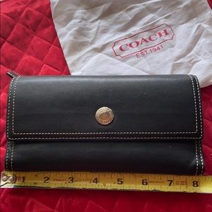Black Coach wallet with pink inside,check book cov